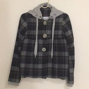 Jackets & Blazers - Casual & Lovely Check Hoodie Jacket (navy/grey)
